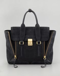 3.1 Phillip Lim - Pashli Mixed-Media Medium Satchel Bag, Black