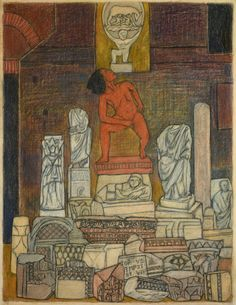 """Mequitta Ahuja, Statues, Colored Pencil on Paper, 22 x 17"""", 2014"""