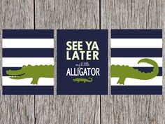 Alligator Nursery Print 11x14 (DIGITAL DOWNLOAD) Navy Blue, White, and Green on Etsy, $16.00
