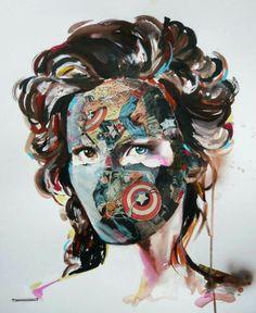 Sandra chevrier - collage and acrylic Sandra Chevrier, Pop Art, Art Alevel, Newspaper Art, A Level Art, Gcse Art, High Art, Portraits, Art Sketchbook