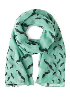 Mustachioed to Joy Scarf in Mint, #ModCloth Just bought this, and I cant wait to get it.