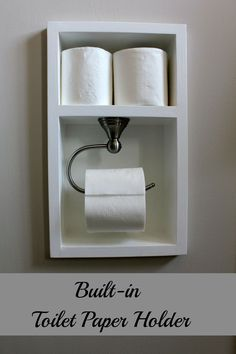 DIY toilet paper holder ideas are simple but interesting. Try one of these inspirations to spice up your bathroom or toilet. Diy Toilet Paper Holder, Recessed Toilet Paper Holder, Toilet Paper Storage, Toilet Roll Holder, Bathroom Storage, Small Bathroom, Small Toilet Room, Bathroom Inspiration, Home Organization