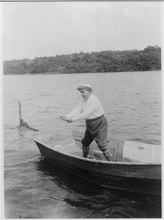 Opera tenor Enrico Caruso fishing in waters near his home in East Hampton. Ca. July 1920. George Grantham Bain Collection, Library of Congress Prints and Photographs Division.