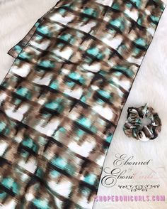 Long Rectangle Teal Silhouette Scarf & Scrunchie Set