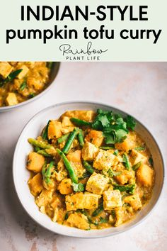 Vegan Pumpkin Curry with Tofu — Rainbow Plant Life Tofu Recipes, Delicious Vegan Recipes, Curry Recipes, Indian Food Recipes, Whole Food Recipes, Dinner Recipes, Healthy Recipes, Pumpkin Recipes, Cooking Recipes