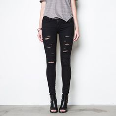 Womens Ripped Low Rise Skinny Jeans In Black Powerstretch | DSTLD Luxury Jeans & Essentials | No Retail Markup