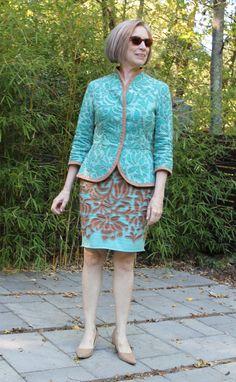 Alabama Chanin jacket and skirt- jersey sharp