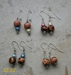 Ohrringe aus Holzperlen und Perlen alter Ketten
