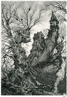 Ian Miller (born 11 November is a British fantasy illustrator and writer . Arte Horror, Horror Art, Fantasy Artwork, Arte Alien, Arte Cyberpunk, Ink Pen Drawings, Fantasy Illustration, Fantasy Landscape, Warhammer Fantasy