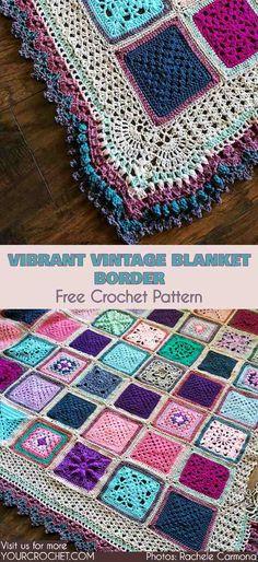 Vibrant Vintage Blanket Border Free Crochet Pattern #freecrochetpatterns #blanketedging #blanketborder #edging #crochetborder