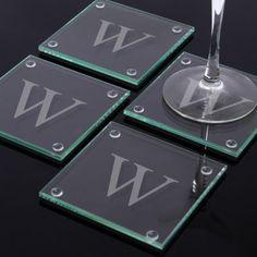 Cathy's Concepts Monogram 4-pc. Glass Coaster Set $37.99