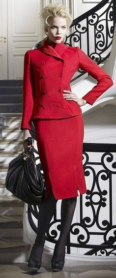 I could not live without a red suit. The perfect power color and attention grabber for holding the attention of my clients during  presentations.
