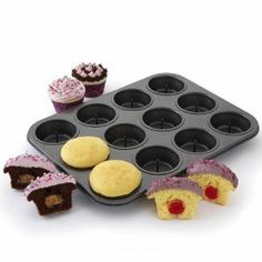 Chicago Metallic Cupcake Surprise Pan by Chicago Metallic. $24.95. Each cavity has post to hold center treat. Bake surprises in the center of your cupcakes. 12 cavities. Nonstick pan. 13-3/4 x 10-1/3 x 1-1/4 deep. ###############################################################################################################################################################################################################################################################