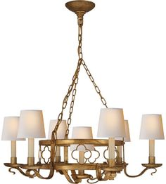 Visual Comfort Suzanne Kasler Margarite 7 Light Chandelier in Gilded Iron with Wax (Shades Sold Separately) SK5102GI #visualcomfort #lightingnewyork #lighting