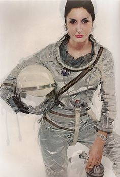 Naty Abascal in a NASA Mercury spacesuit, photographed by Richard Avedon for the 1965 Harper's Bazaar modern special edition.