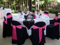 black and pink wedding reception ideas