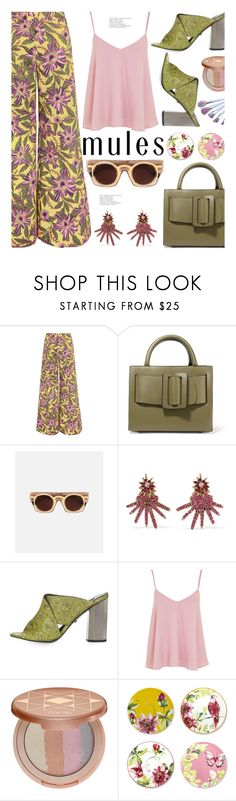"""""""Slip 'Em On: Mules"""" by hamaly ❤ liked on Polyvore featuring RED Valentino, Boyy, Oscar de la Renta, Topshop, tarte, Laura Ashley, outfit, ootd and mules"""