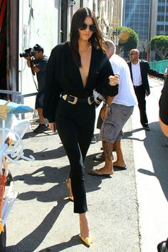 In Los Angeles wearing a Bri Bri B-Low the belt, high-waisted black skinnies and a Esosa top.    - HarpersBAZAAR.com