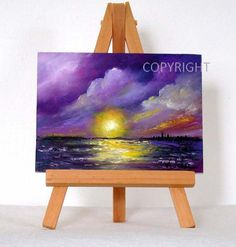 Purple Sunset 2 original oil painting 3x4 gift by valdasfineart