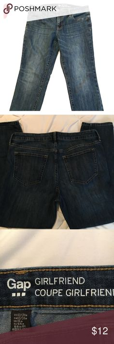 Gap Girlfriend fit dark rinse jeans; size 12 Gap Girlfriend fit jeans; Size 12; dark rinse jean. Super cute and flattering on, just a touch big on me. You can roll the cuff for a super casual look with your favorite comfy tee or dress them up with a blazer and short boots. GAP Pants Straight Leg