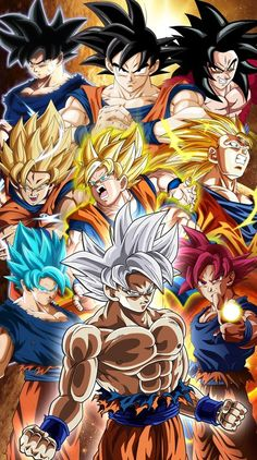 Complete Goku by JemmyPranata Dragon Ball Z, Image Dbz, Fanart, Goku All Forms, Goku Transformations, Manga Dragon, Ball Drawing, Film D'animation, Cartoon
