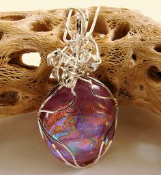 Dichroic Glass Wire Wrapped in Sterling by SecondNatureJewelry @allisonlundahl