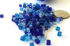 3mm+x+3mm+Blue+Tones+Miyuki+Cube+Bead+Mix+by+beadartjewelrysupply,+$1.43