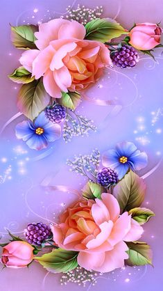Pink purple blue flowers