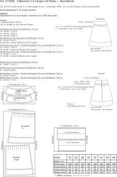 01-830 Faltenrock in 2 Längen (60 + 70 cm) mit Passe und Saumblende