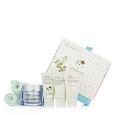 228646 Liz Earle 4 Piece With Superskin Sparkling Skin Collection QVC Price: £39.00 + P&P: £4.95 or 2 Easy Pays of £19.50 +P&P in 2 options A luxurious skincare collection from Liz Earle, featuring a Superskin Moisturiser, Brightening Treatment, Intensive Nourishing Treatment and Gentle Face Exfoliator, plus two soft muslin cloths all beautifully presented in a pretty gift box. This gorgeous package would make a wonderful gift for any beauty fan.