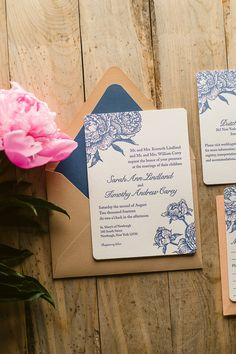 ELIZABETH Suite Rustic Package, PEONY WEDDING INVITATIONS, navy, peach, kraft wedding invitations, invitations with twine, envelope liners, letterpress wedding invitations, peonies