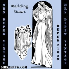 Vintage Sewing Pattern French 1930's Wedding Gown by Mrsdepew