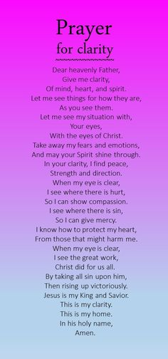 Prayer for clarity