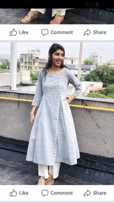 A mix of pleasant aesthetics and everyday comfort, this simplistic, easy breezy kurta is a must have for your daily wear ward robe. Salwar Designs, Plain Kurti Designs, Simple Kurti Designs, Kurta Designs Women, Kurti Designs Party Wear, Dress Neck Designs, Designs For Dresses, Blouse Designs, Frock Design