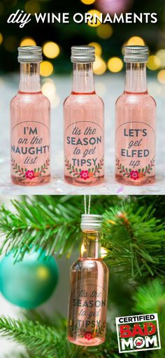 Fill little bottles with your fave wine or liquor and BOOM! Instant DIY ornaments. Doubles as an emergency cocktail when things get tough at your holiday party! #BadMomsXmas is in theatres this November. Photo by @maispy