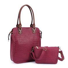 Women Crocodile Bags Totes Elegant Handbags Shoulder Bags Crossbody Bags 2 Pcs