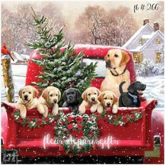Vintage Christmas Home for the Holidays Red Truck Puppies 1 print on fabric FB Christmas Red Truck, Christmas Scenes, Noel Christmas, Christmas Animals, Vintage Christmas Cards, Christmas Images, Country Christmas, Christmas Greetings, Winter Christmas