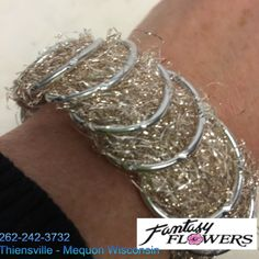 Hand made silver bracelet.  Great for the #Prom #corsage.  This is a great base for that one of a kind dance corsage.