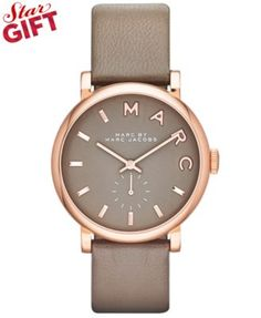 Marc by Marc Jacobs Watch, Women's Baker Gray Textured Leather Strap 37mm MBM1266 - First @ Macy's!