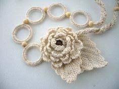 Hand Crochet Natural Linen Necklace Flower and by CraftsbySigita www.etsy.com/...