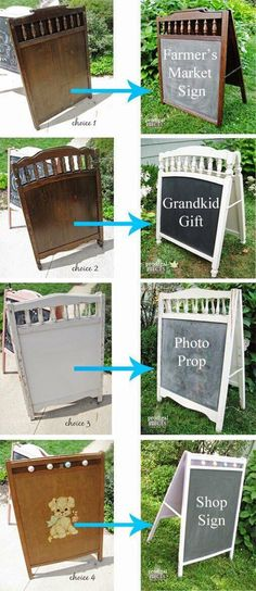 Baby Crib Projects ~ Junkin' Fun Repupose Your Baby's Crib Into a Chalkboard Easel, Garden Trellis, Drying Rack & More! by Prodigal Pieces Repupose Your Baby's Crib Into a Chalkboard Easel, Garden Trellis, Drying Rack & More! by Prodigal Pieces Upcycled Crafts, Repurposed Items, Repurposed Furniture, Diy Crafts, Old Baby Cribs, Old Cribs, Furniture Makeover, Diy Furniture, Furniture Projects
