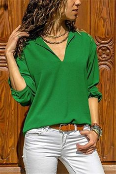 Casual Fashion Pure Color V Neck Long Sleeve Irregular Shirt – Sheinstreet Style Désinvolte Chic, Style Casual, Smart Casual, Casual Chic, Blazer Fashion, Fashion Outfits, Ladies Fashion, Fashion 2017, Casual Skirt Outfits