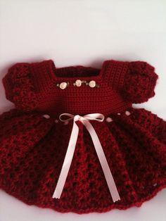 Crochet bebé vestido vestido rojo infantil