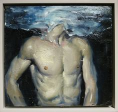 """Man Underwater"" - Malcolm Liepke (b. 1953) Oil on panel  11x12"""