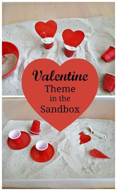 Valentine's Day Indoor Sandbox for Toddlers - a great sensory play activity for toddlers that's perfect for Valentine's Day. A fun indoor activity or use it in an outdoor water and sand table too. My Bored Toddler http://www.myboredtoddler.com