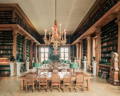 Magnificient chandelier made by Caffieri (XVIII) for Madame de Pompadour in the Mazarin library in Paris, restored by Mathieu Lusterie
