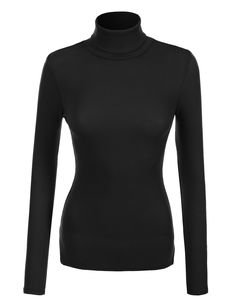 LE3NO Womens Basic Ribbed Long Sleeve Turtleneck Top