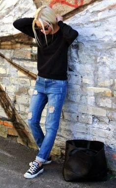 Womens Fashion black sweater   distressed denim   black sneakers