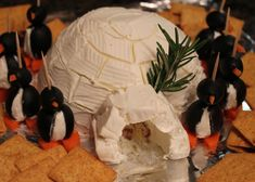 Igloo cheese ball with cream cheese penguins - SO CUTE!