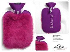 Wärmflasche 'Schatzl' -- Filz 100% Schurwolle magenta -  GummiWärmflasche pink - Kaninchen pink gefärbt bayrisch glücklich - Grösse 26 x 16 cm